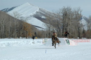 ski joring horse and horseback rider pull skier over jump on course with snowy mountain in background